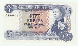 Mauritius 1967 5 Rupees P.30 ( UNC- ) prefix A