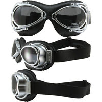 NANNINI STREET FIGHTER HAND-SEWN BLACK LEATHER GOGGLES SILVER FRAME GREY LENS