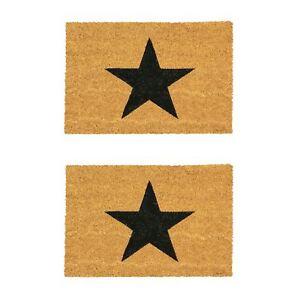 2x Door Mat Non-Slip PVC Coir, 40 x 60cm - Black Star - Indoor Mats Doormats