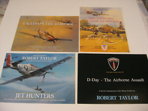 Lot of 4 P-51 Mustang Aircraft Robert Taylor Aviation Art Advertising Brochures