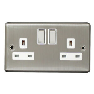 Arlec 13Amp 2 Gang Switched Socket Double Pole Brushed Steel 8122GBSS BRAND NEW