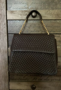Authentic BALLY Chain Hand  Bag Leather Brown Gold Made In Italy