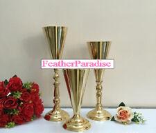 Tall Gold Vase 17 inches Polished Metal Trumpet Vase Wedding Centerpiece Vases