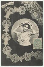 antica cartolina formato piccolo ricamo les dentelles punto di venezia point de