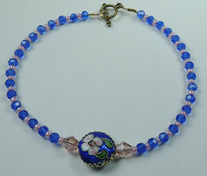 handcrafted Blue Crystal & Pink Beads Anklet & Blue Cloisonne with Pink Flower