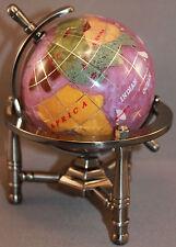 Genuine Multi-Gemstone Desktop Globe Pewter Tone Base Purple Pearl Globe Free SH