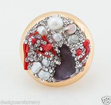 Roco By Rodrigo Otazu Shell & Crystal Gold Tone Ring size 7