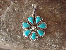 Zuni Sterling Silver Turquoise Flower Pendant - Dosedo