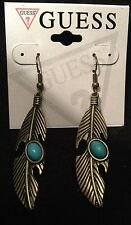 GUESS~Distressed Gold Tone Feather~Turquoise Look Stone Dangle Earrings~NWT