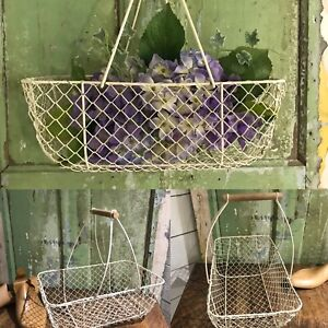 CUTE Genuine Old FRENCH Carry Wire Mesh TRUG Metal Kitchen BASKET Wood Handles