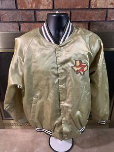 Vintage Houston Astros MLB Baseball Satin Snap Jacket Mens Size Large Gold Vtg