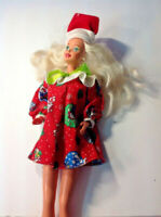 Vintage 1966 Barbie Christmas Santa Suit  Mattel LONG SILVER HAIR INDONESIA DV59
