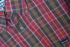 Faconnable Men's Button Front Shirt Plaid Long SLeeve L Red Brown Green Yellow