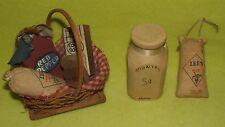 Miniature Kitchen Accessories Basket w Honey Ham Rice Cookbook Wood Milk Pepper