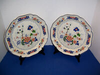"Vintage Mikasa Heritage Antiquities 2 Dinner Plates (10.75"") Floral w/ Blue Trim"