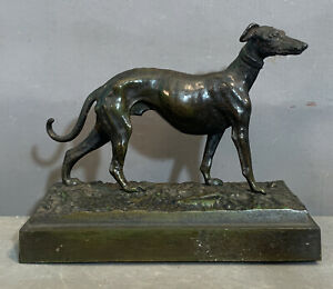 Antique ART DECO BRONZED Spelter GREYHOUND Whippet DOG STATUE Old DESK SCULPTURE