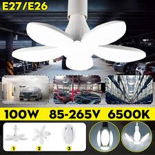 100W E27 Deformable Led Garage Light Bulb Ceiling Fixture 5 Blades Workshop Lamp