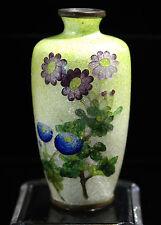 Japanese Foil Ota Cloisonne Enamel Floral Vase Circa 1915s
