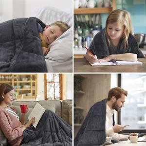 Soft Velvet Weighted Blanket Heavy Reduce Stress Deep Sleep Grey 200×150 cm