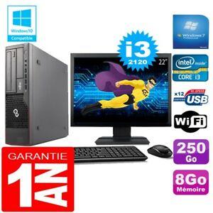 """PC Fujitsu Esprimo E700 E90+ SFF Core I3-2120 8Go Disque 250Go Wifi W7 Ecran 22"""""""