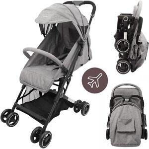Compact Travel Baby Pushchair Stroller Foldable Pram Buggy Adjustable Backrest
