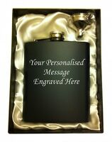 Engraved Steel HIP FLASK black 7oz in gift box with white liner + free funnel