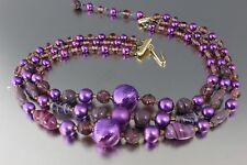 VINTAGE PURPLE ART GLASS & FAUX PEARL BEAD MULTI 3 STRAND NECKLACE JAPAN