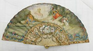 ANTIQUE CARVED  STICKS AND MOTHER OF PEARL  HAND PAINTED  HAND  FAN XVIII