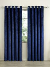 Crushed Velvet Lined Eyelet Ring Top Curtains (Pair of) Ready Made