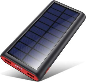 Powerbank da 26800 mAh, Pannello solare per carica, 2 porte USB, 3.1 A batteria
