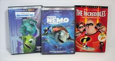 Disney's Finding Nemo MONSTERS, INC. The Incredibles Walt Disney 3 DVD Lot