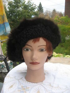 "#W184 unisex beret black persian lamb fur trim w/brown fox fur hat 25"" to 26"""