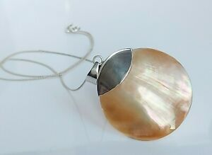 """Beautiful Large Sterling Silver & Mother Of Pearl Fancy Pendant Necklace 17.5"""""""