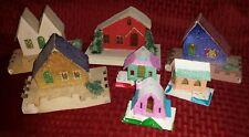 Vintage Putz Houses Lot of 7 Japan Cardboard Light Up