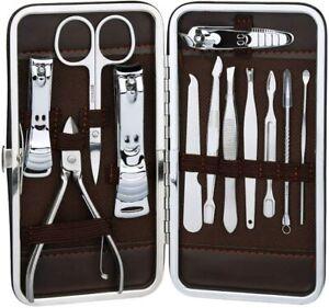 Set completo per cura manicure e pedicure in acciaio inossidabile con custodia