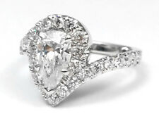 Pear Shape Diamond Pave Swirl Engagement Ring, White Gold  GIA Flawless