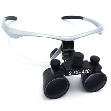 2.5X420mm Dental Surgical Binocular Loupes Medical Magnifier Silver DY-101
