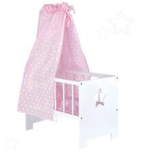 Sun Puppenbett Himmel Sternchen Holz Himmelbett Bett Puppe Puppenmöbel Weiß Rosa