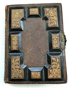 ANTIQUE LEATHER PHOTO ALBUM METAL CLASP BROWN & GOLD GILDED HOLDS 24 PHOTOS