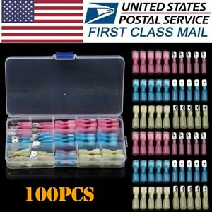 100pcs Electrical Heat Shrink Male & Female Spade Wire Connectors Terminals Kits