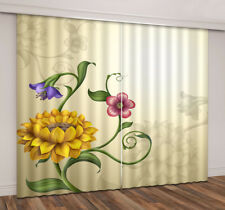 3D Beautiful Flowers & Floral Shadow Window Curtains Blockout Drapes Fabric New