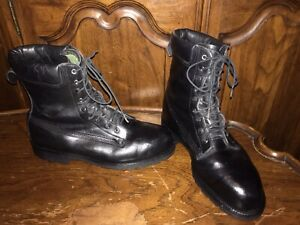 Ranger Firefighter Black Leather 1997 Edition Steel Toes Work Boots Size 10W USA