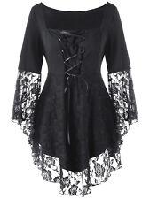 Punk Gothic Victorian Steampunk Lace Stretch Shirt Top Blouse Plus Size