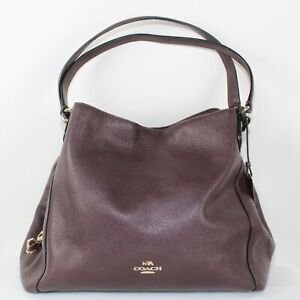 Coach Ladies Purple Leather Double Strap Shoulder Bag