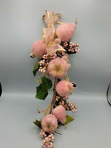 Vintage Sugar Frosted Beaded Christmas Fruit Pink Pomegranates Pears Wall Spray