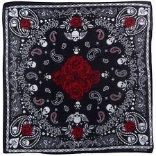 100% Coton Carré Crânes et Roses Bandana Cachemire Foulard Cravate DV306