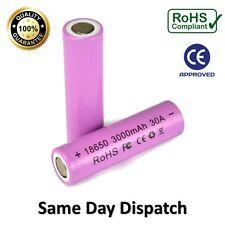 2 X Pilas Recargables 3000 mAh 18650 30A Alto Consumo Li-ion Batería de vaporizador Reino Unido