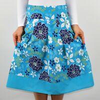 Debenhams Floral Skirt Cotton Aline Blue Holiday Summer Casual Size 12 AK