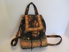 Vera Bradley Brown Floral Backpack Handbag Drawstring & Flap Back Pocket FUN!