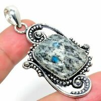 "K2 Azurite Handmade Ethnic Style Jewelry Pendant 2.25"" R-VJ-6333"